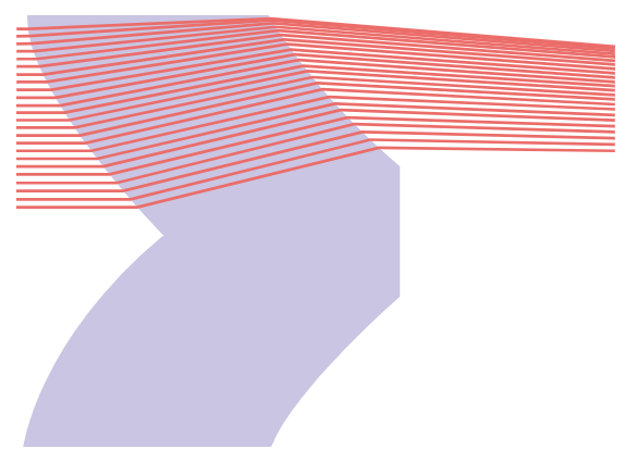 Layout of a single-material aspheric achromat from MATLAB. Only half of the lens aperture is illustrated.